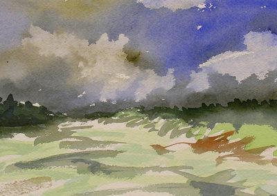 aquarel, Margot Maaskant, landschap, dreigende wolken