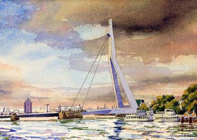 De Zwaan, Erasmusbrug, Rotterdam, Margot Maaskant, aquarel, water, de Maas, rivier, wolkenlucht