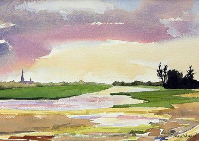 landschap, water, rivier, Margot Maaskant, aquarel, wolkenlucht