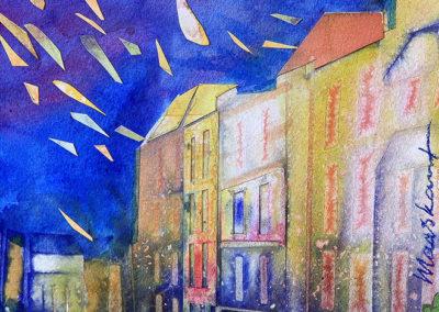 steeg, Nijmegen, collage, Margot Maaskant, nacht