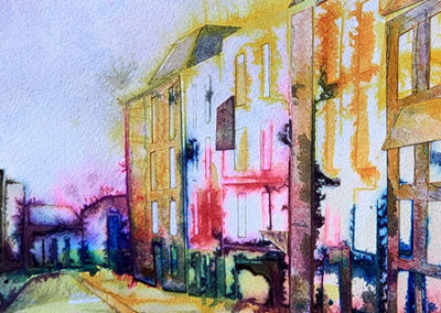 straatje, Nijmegen, Margot Maaskant, aquarel, stadsgezicht, collage