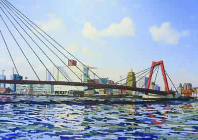 Willemsbrug, Rotterdam, Maas, maaskade, brug, water, rivier, stad, stadsgezicht, margot maaskant, schilderij, olieverf, landschap