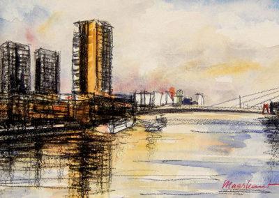 De Hoge Heren, Rotterdam, Maas, Margot Maaskant, tekening, aquarel, stadsgezicht, rivier, water