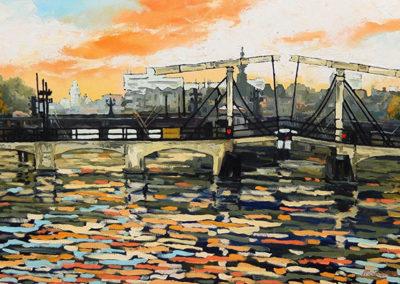 Magere Brug, amsterdam, rivier, water, amstel, ophaalbrug, carre, margot maaskant, landschap, schilderij, olieverf, stadsgezicht
