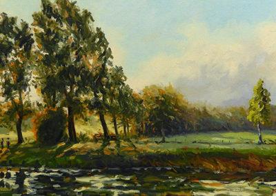 Oever, Mark, Markdal, rivier, mist, Margot Maaskant, Breda, Ulvenhout, schilderij, landschap, olieverf