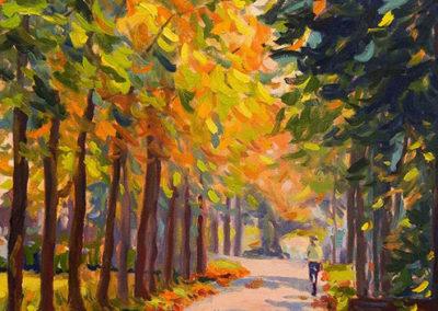 bos, bospad, fietser, fietsen, herfst, Margot Maaskant, schilderij, olieverf, landschap