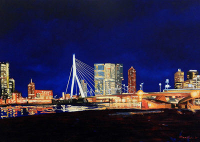 Erasmusbrug bij nacht, olieverf op linnen, 160 x 110 cm, 2015 (verkocht)
