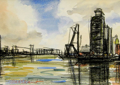 Hotel New York, Rotterdam, Maas, Noordereiland, Margot Maaskant, aquarel, krijt, tekening, water, wolken, wolkenlucht, lucht, licht, spiegeling, hijskraan