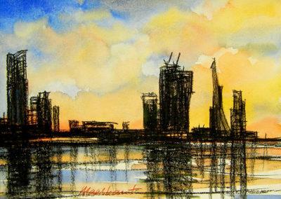 skyline, Rotterdam, Maas, Margot Maaskant, tekening, avond, aquarel, Erasmusbrug, krijt