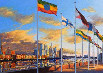 Vlaggen langs de Maas, olieverf op linnen, 135 x 80 cm, 2015 (verkocht)