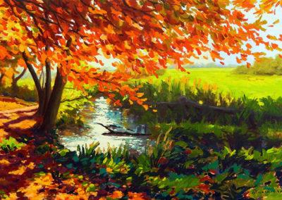 Beek, Limburg, Geul, Geuldal, Margot Maaskant, herfst, olieverf, landschap, schilderij