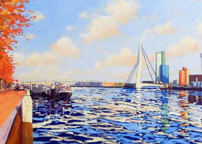 Willemskade, Rotterdam, Erasmusbrug, Maas, margot maaskant, schilderij, landschap, stadsgezicht, wolkenlucht, water, rivier