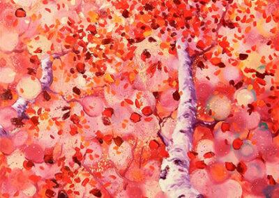 Margot Maaskant, berk, roze, herfst, paars, oranje, wit, schilderij