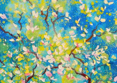 margot maaskant, bloesem, blauw, lente, wit, bloemen, voorjaar