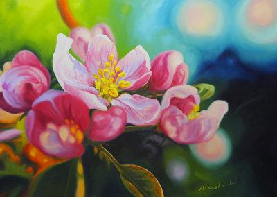 Appelbloesem, appelboom, bloem, bloemen, roze, blauw, geel, groen, olieverf op linnen, margot maaskant, breda