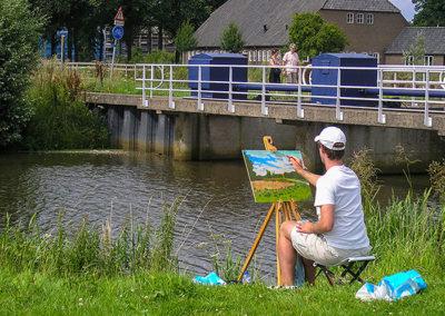 creatief Breda workshop buiten schilderen langs De Mark Margot Maaskant