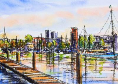 Veerhaven, gemengde technieken op papier, 50 x 40 cm, 2017