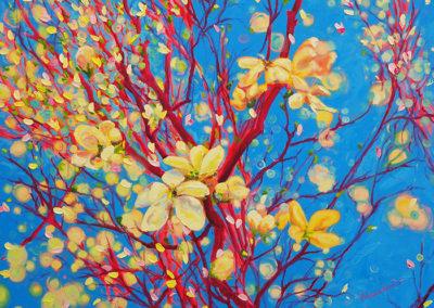 witte bloesem blauw lente rode takken Margot Maaskant